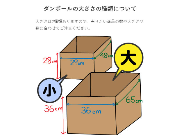 ジャニキング段ボールのサイズは「大」「小」